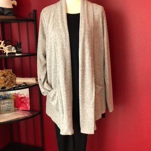 LOFT GRAY SHAWL COLLAR POCKET OPEN CARDIGAN
